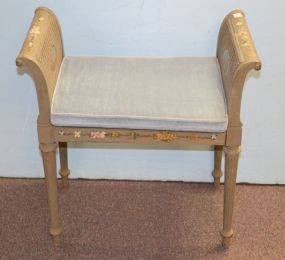 Polychromed With Cane Seat and Sides Bench