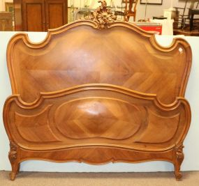 French Bed with Rooster Tail Crest and Footboard