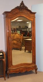 French Style Single Door Armoire with Rooster Tail Crest
