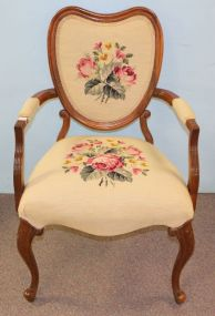Heart Shaped Back Needlepoint Upholstered Chair