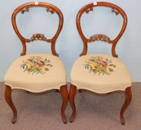 Pair of Victorian Chairs with Needlepoint Upholstery