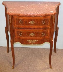French Inlaid Commode with Marble Top and Brass Mounts