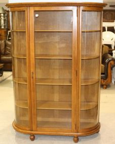 Large Oak Curved Glass China Cabinet