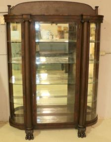 Flame Mahogany Clawfoot Curved Glass China Cabinet with Glass Shelves