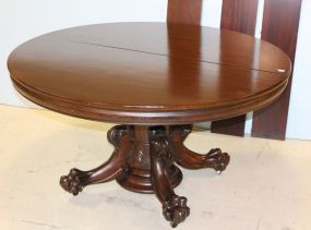 Mahogany Clawfoot Split Pedestal Dining Table with Seven Leaves