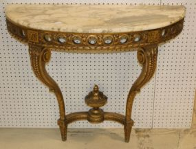 Gilt Wall Mount Marble Top Console