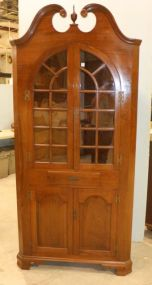 Virginia Craftsman Reproduction Corner Cabinet with Glass Upper Doors, Drawer and Lower Wooden Doors