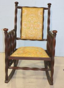 Unique Twist Style Mahogany Rocker with Upholstered Back and Seat