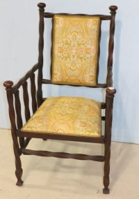 Unique Twist Style Mahogany Chair with Upholstered Back and Seat