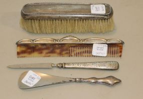 Sterling Comb, Brush, File, Shoe Horn with Sterling Handles