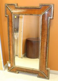 Decorative Mirror with Faux Wood Grain