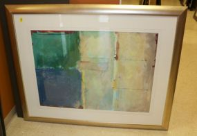 Original Abstract Painting Matted and Framed