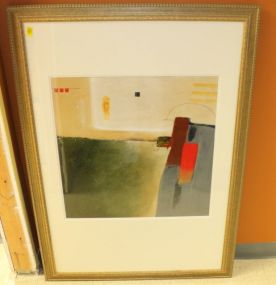 Original Abstract Matted and Framed