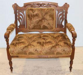 Upholstered Oak Settee