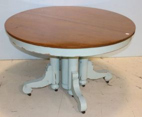 Oak Empire Table with Light Blue Base