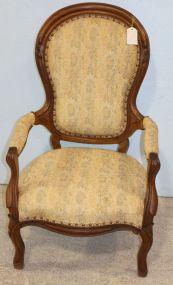 Walnut Victorian Finger Roll Arm Chair