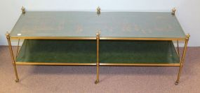 Baker Furniture Oriental Design Brass Coffee Table with Castors