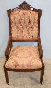 Walnut Upholstered Back and Seat Chair