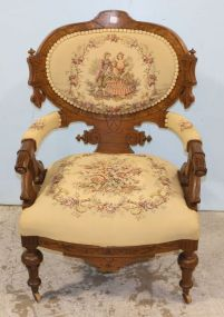 Walnut Victorian Tapestry Arm Chair