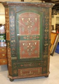 Hand Painted with Floral Decoration Pine Wardrobe