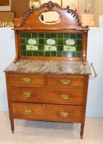 English Marble Top Washstand with Brass Towel Bar