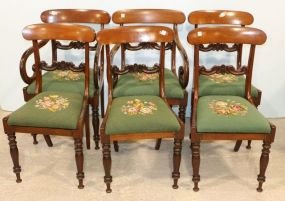 Six Mahogany Chairs with Embroidered Seats