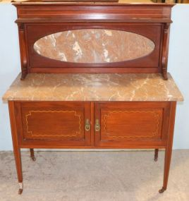 Marble Top Server with Inlaid Doors