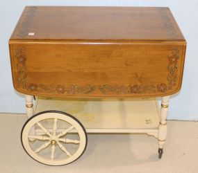Ethan Allen Tea Cart with Stenciled Design in Hitchcock Style