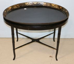 Paper Mache' Tray Table with Swan Gilt Border