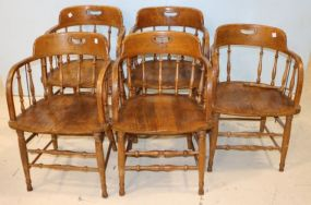 Five English Oak Captain's Chairs