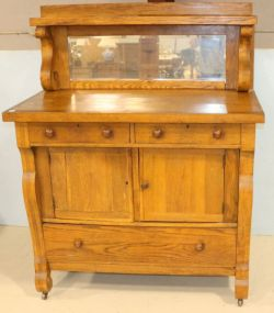 Empire Oak Buffet with Beveled Glass Mirror Top