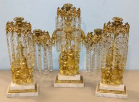 Three Piece Figural Gilt Girandole Candelabras