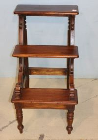 Three Step Mahogany Library Ladder