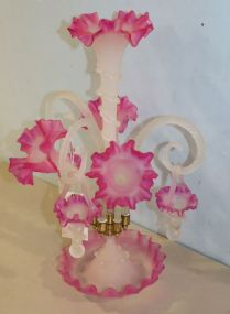 Pink Three Arm Ruffled Edge Epergne