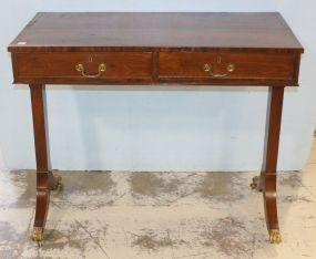 English Two Drawer Library Table