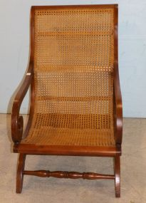 Mahogany and Cane Plantation Chair