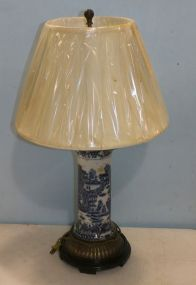 Blue and White Oriental Pottery Lamp with New Szoke Shade