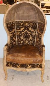 Dome Balloon Chair Upholstered in Fabric and Leather with Cane Top