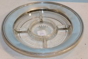 Robert Wallace and Sons Sterling Edge Glass Divided Dish