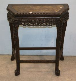 Carved Asian Console Table with Marble Insert