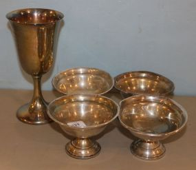 Four Weighted Sterling Compotes and Fisher Sterling Goblet