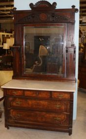 Aesthetic Movement Marble Top Carved Dresser