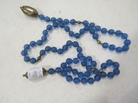 Mignon Faget Lariat with Blue Etched Beads and Large Sterling Red Beans