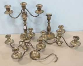 Pair of Sterling Silver Candlesticks Weighted with a Three Arm Attachment and Two Additional Five Arm Attachments