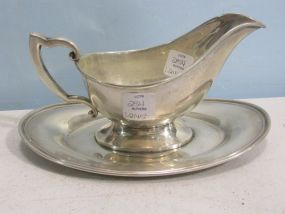 Fisher Sterling Silver Gravy Boat with Attached Underplate