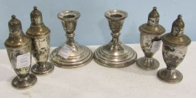 Pair of Sterling Silver Weighted Preisner Candlesticks, a Pair of Weighted Revere Salt and Pepper Shakers and a Weighted Pair of Duchin Salt and Pepper Shakers
