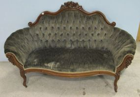 Tufted Back Carved Crest Victorian Settee