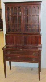 Mahogany Inlaid Two Piece Secretary with Tambour Doors and Lower Drawers