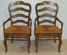 Country French Rush Seat Arm Chairs
