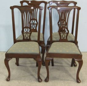 Set of Four Mahogany Queen Anne Chairs with Quadrofoil Style Backs